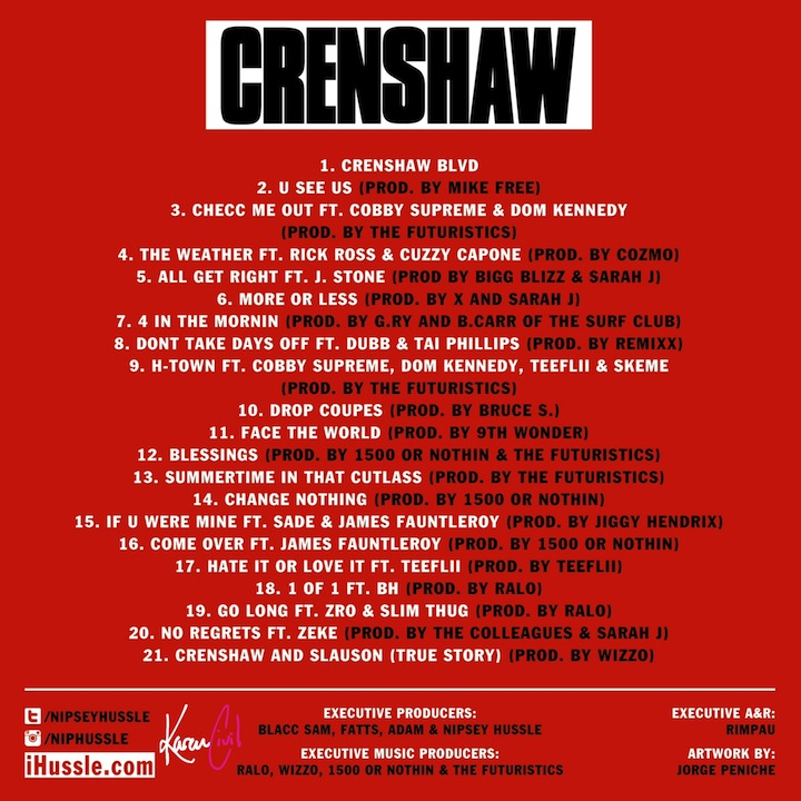 Nipsey Hussle AIRS OUT Complex Magazine(Crenshaw mixtape for